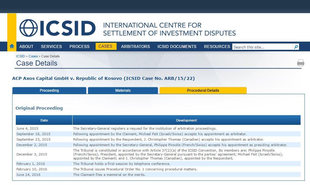 Kosovo arbitraje del CIADI