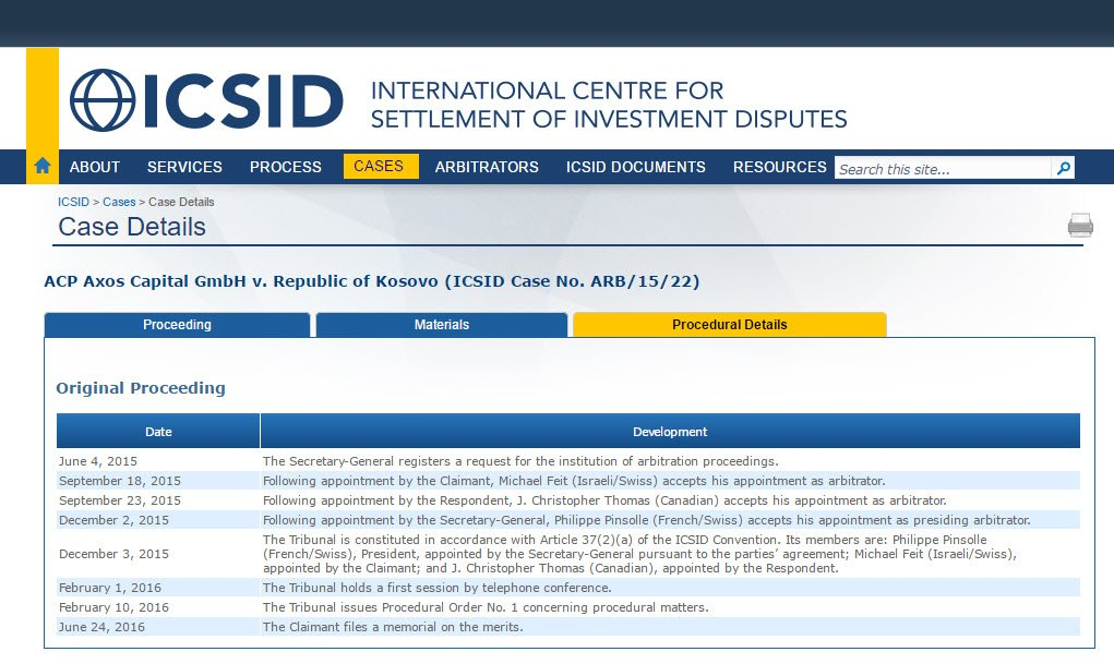 Kosovo ICSID arbitration