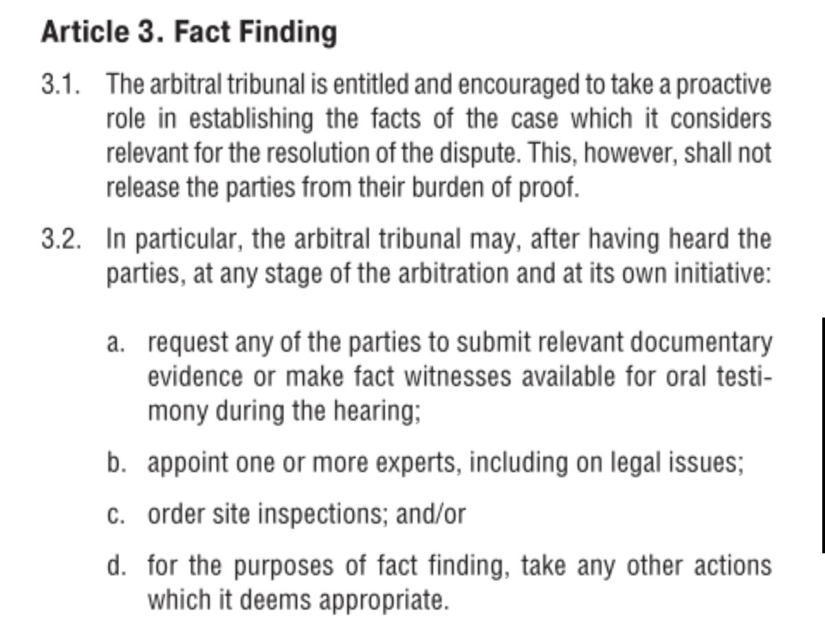IBA กฎโวลต์. กฎปรากอนุญาโตตุลาการระหว่างประเทศ
