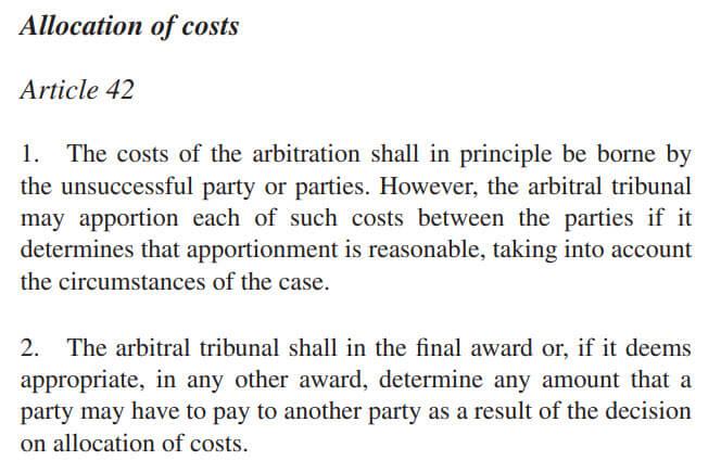 Możliwość odzyskania kosztów arbitrażu - UNCITRAL