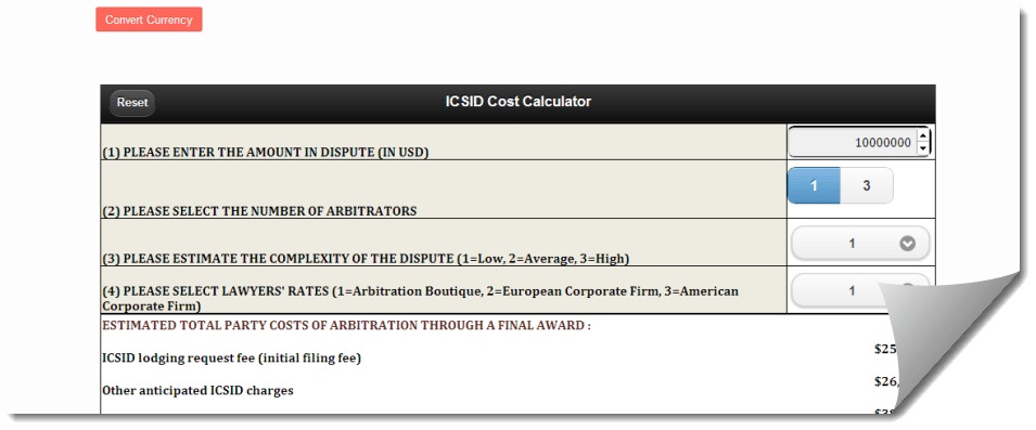 ICSID-cost-calculator